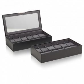 Coffret Simili Cuir Noir 2 Plateaux 12 Montres Stackable Watch Trays