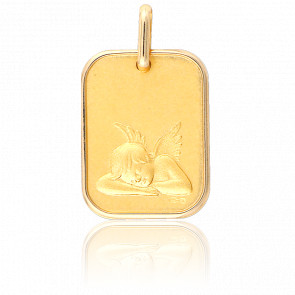 Médaille Rectangle Ange Assoupi Or Jaune 18K
