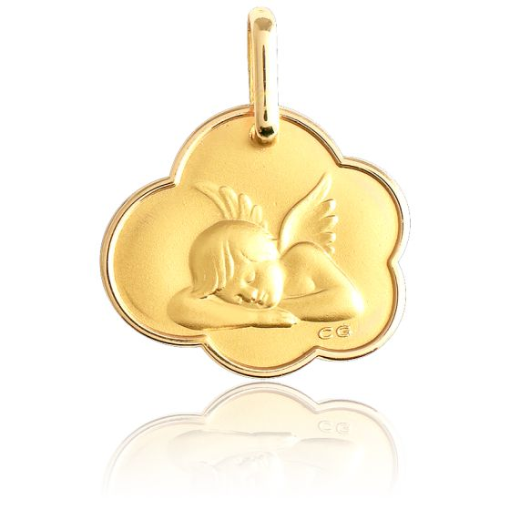 Médaille Ange Assoupi Dans Un Nuage Bords Arrondis Or Jaune 18K