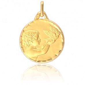 Médaille Ange à la Colombe Bord Facetté Or Jaune 18K