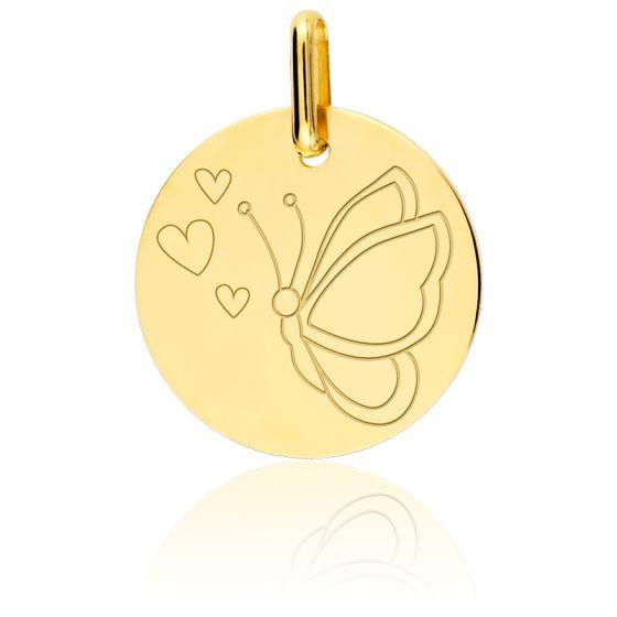 Médaille Papillon Or Jaune 18K