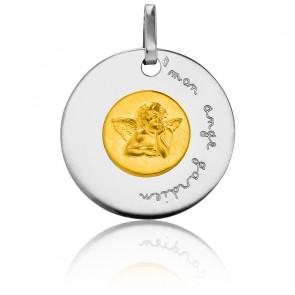 Médaille Mon Ange Gardien Bicolore Or Jaune & Blanc 18K