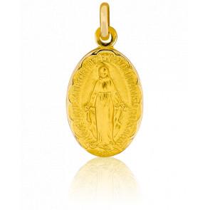 Médaille Vierge Miraculeuse Ø13 mm Bord Fleuri, Or Jaune 18K