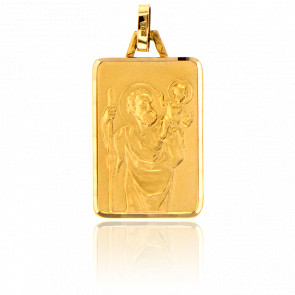 Médaille Saint Christophe Rectangulaire Or Jaune 18K
