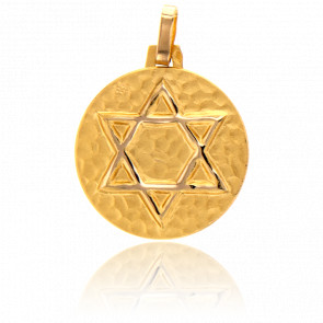 Médaille Etoile de David Martelée Or Jaune 18K