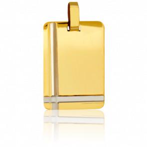 Médaille Plaque Votive Or Blanc & Or Jaune 18K