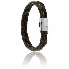 Bracelet 604 Falabella Crin de cheval Marron & Acier