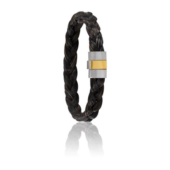 Bracelet 604 Crin de Cheval Marron, Acier & Or Jaune 18K