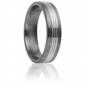 Alliance Aura 6 mm Titanium et Or Blanc 18K