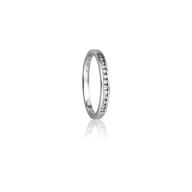 Alliance Enjoleuse Or Blanc 18K & Diamants 0,12ct GP1