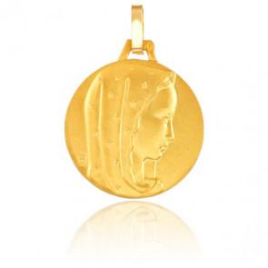Médaille Vierge au Voile Etoilé Or Jaune 18K