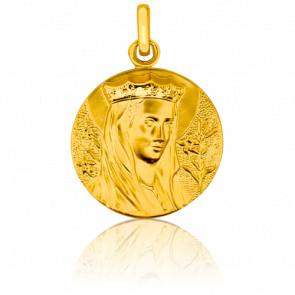 Médaille Vierge Couronnée Ronde Or Jaune 18K