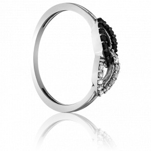 Bague Leaves Or Blanc et Duo de Diamants 18k
