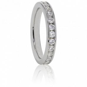 Alliance Cinna Or Blanc 18K et Diamants G/SI2 0,50ct