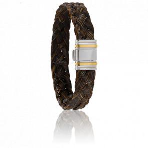 Bracelet 698 Crin de Cheval Marron, Acier & Or Jaune 18K