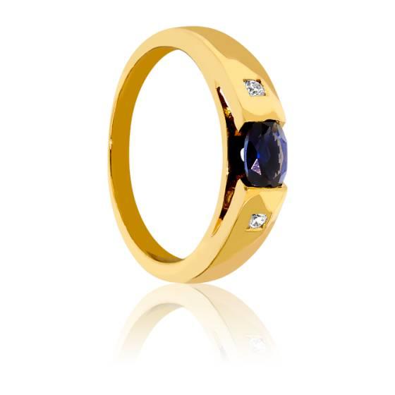 bague or jaune diamant et saphir bleu