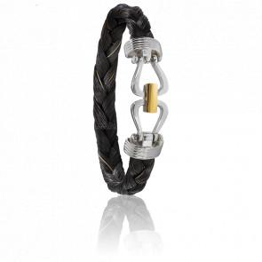 Bracelet 731 Crin de Cheval Noir, Acier & Or Jaune 18K