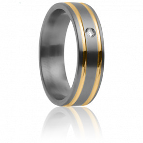 Alliance Théia 5,50 mm, Titanium, Or Jaune et Diamant 0,10 ct (Devis spécial)