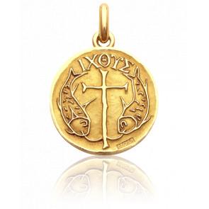 Médaille Poissons & Croix Or Jaune 18K