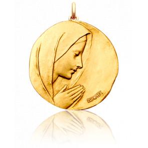 Médaille Vierge en Prière Ronde Or Jaune 18K