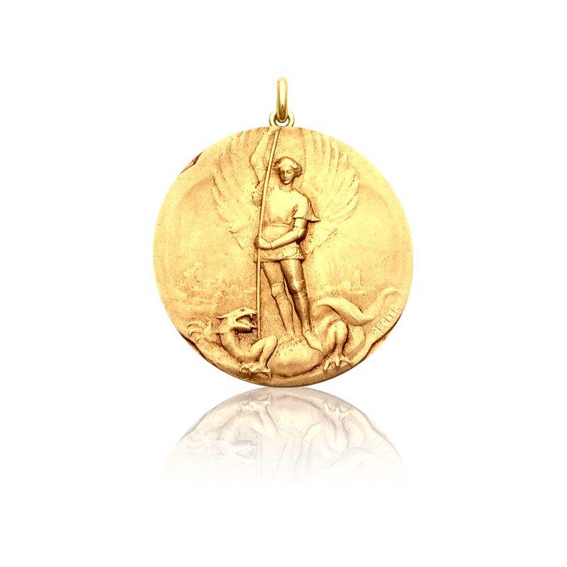 Médaille Saint Michel & Le Dragon Or Jaune 18K