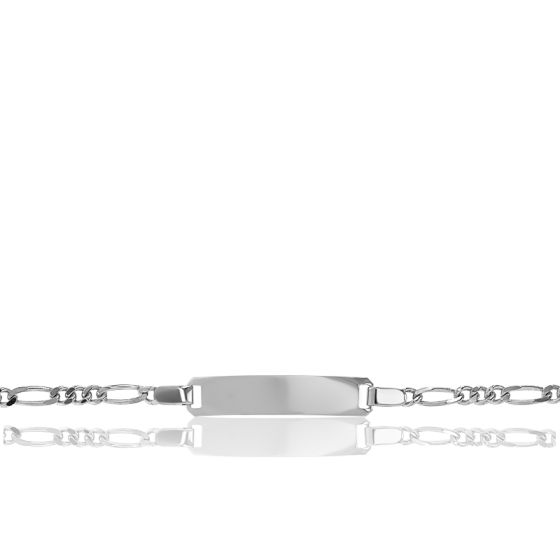 Gourmette Rectangle Maille Cheval Alternée Triple Or Blanc 9K