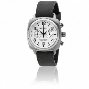 Clubmaster Chrono Date Classic Acier Bracelet Noir Cadran Blanc