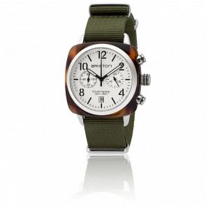 Clubmaster Chrono Date Acétate Ecaille Cadran Blanc Bracelet Vert Militaire