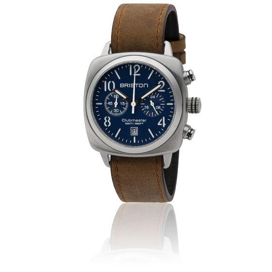 Clubmaster Chrono Date Classic Acier Bracelet Marron Cadran Bleu