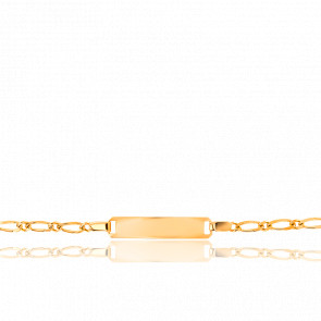 Gourmette Rectangle Maille Cheval Alternée Simple Or Jaune 9K