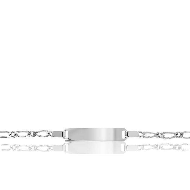 Gourmette Rectangle Maille Cheval Alternée Or Blanc 9K