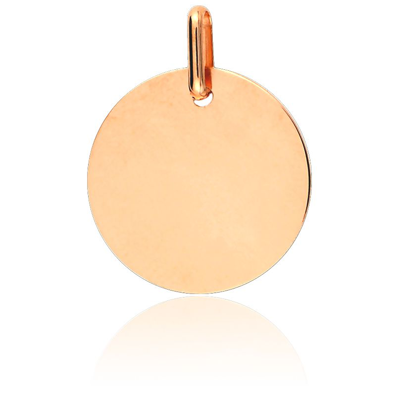 Médaille Ronde Polie Or Rose 18 carats