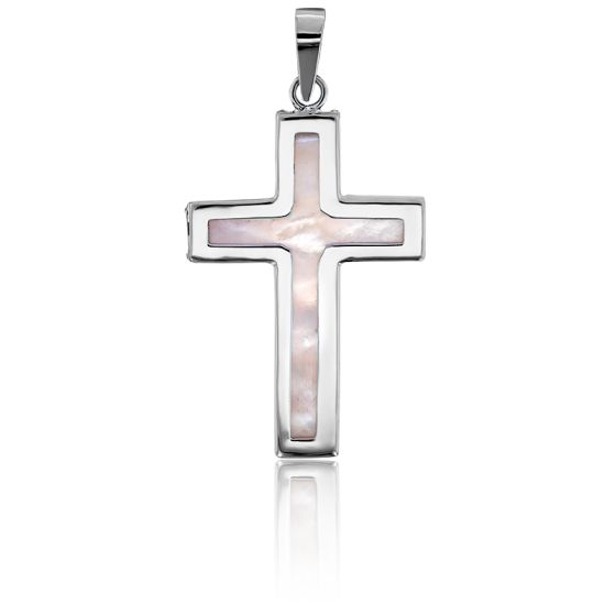 Croix Plate Cœur Nacré Or Blanc 9K