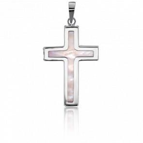Croix Cœur de Nacre Or Blanc 18K
