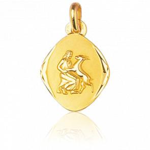 Médaille Zodiaque Facettée Vierge Or Jaune 18K