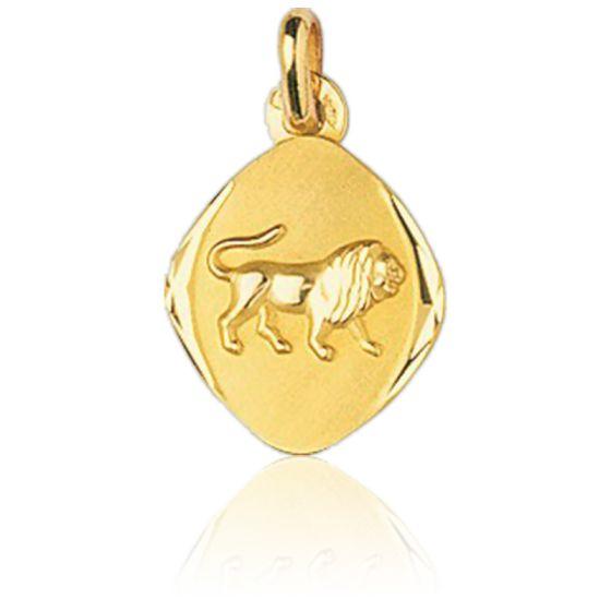 Médaille Zodiaque Facettée Lion Or Jaune 18K