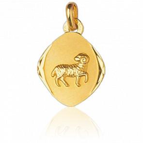 Médaille Zodiaque Facettée Bélier Or Jaune 18K