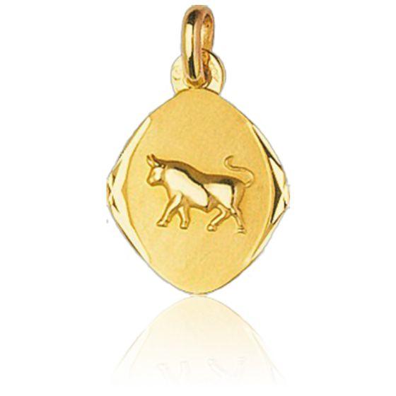 Médaille Zodiaque Facettée Taureau Or Jaune 18K