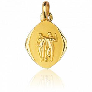 Médaille Zodiaque Facettée Gémeaux Or Jaune 18K