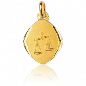 Médaille Zodiaque Facettée Balance Or Jaune 18K