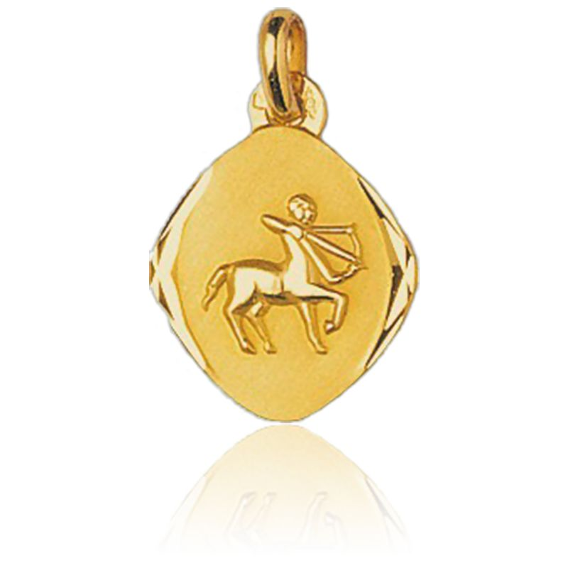 Médaille Zodiaque Facettée Sagittaire Or Jaune 18K