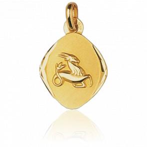 Médaille Zodiaque Facettée Capricorne Or Jaune 18K