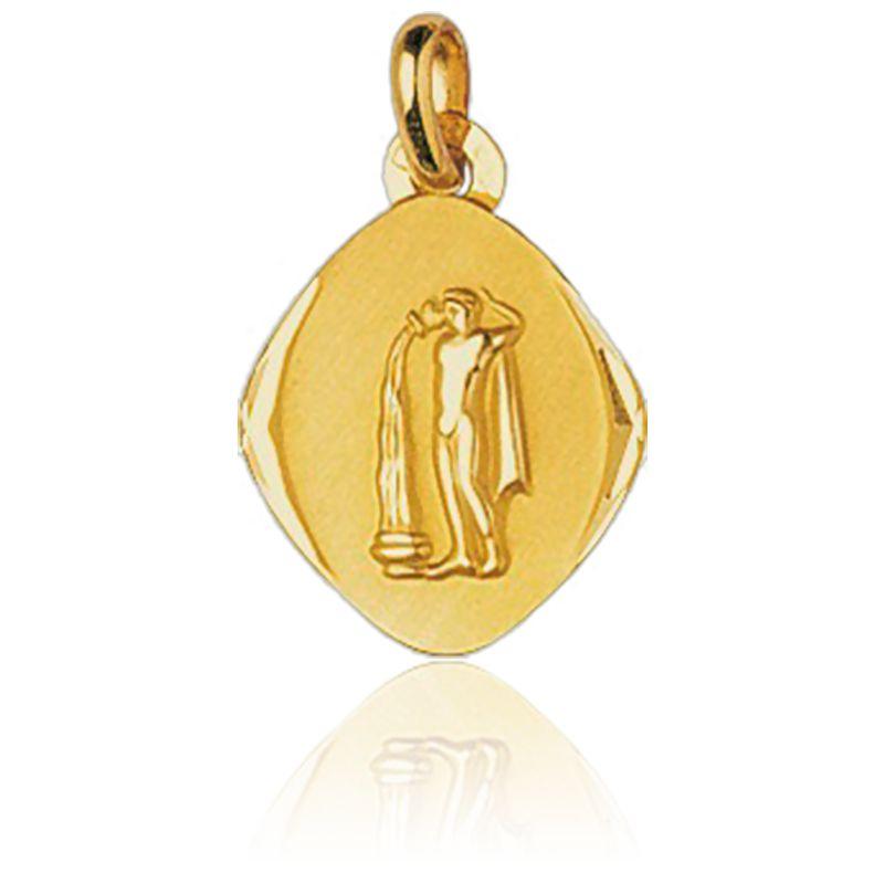 Médaille Zodiaque Facettée Verseau Or Jaune 18K