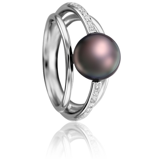 Bague Angélina Diamants, Perle Tahiti et Or Blanc