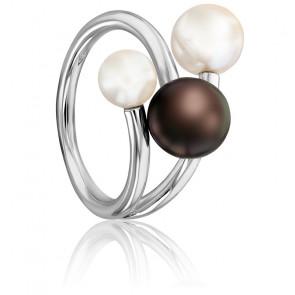 Bague Trio de Perles, Or Blanc