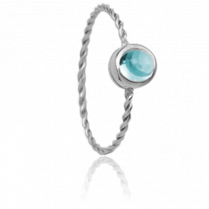Bague In the Air Or Blanc 9K et Tourmaline Bleue
