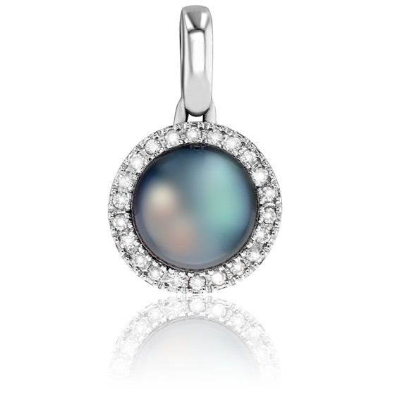 tout à fait stylé lacer dans chaussure Pendentif Perle, Or Blanc et Diamants - Porchet - Ocarat