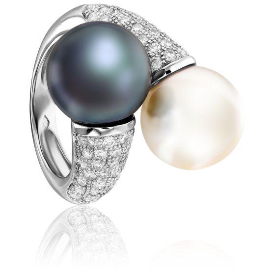 Bague Perle Tahiti et Blanche, Or Blanc et Diamants