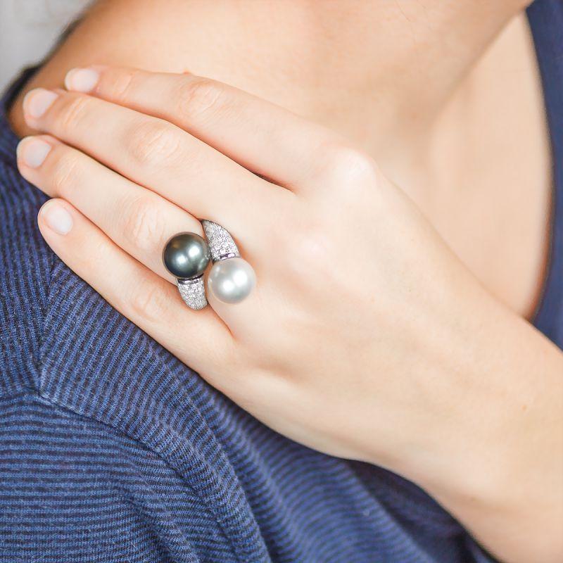 bague perles or blanc et diamants porchet ocarat. Black Bedroom Furniture Sets. Home Design Ideas