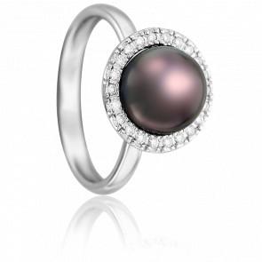 Bague Perle Encerclée, Or Blanc et Diamants